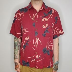 SILK ICON leaf print short sleeve button up shirt
